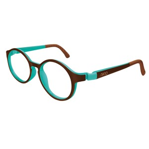 Nano NAO600446 Breakout Kids Eyeglasses Chocolate/Turquoise Eye Size 46-17