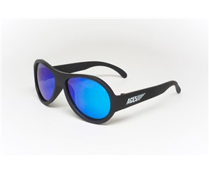 Babiators Aviator ACE-002 Childrens Sunglasses Black Ops Black Blue Lenses