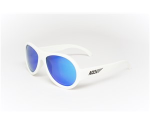 Babiators Aviator ACE-003 Childrens Sunglasses Wicked White Blue Lenses